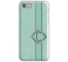 1920s Blue Deco Swing with Monogram letter C iPhone Case/Skin