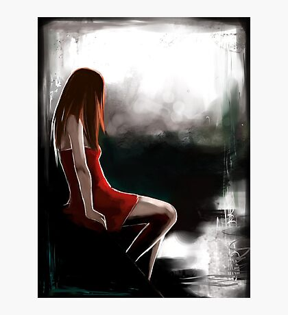 EMO- Depressed Girl In Red Skirt Photographic Print