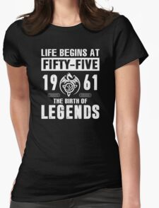 LIFE BEGINS AT 55 Womens Fitted T-Shirt