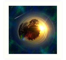 Mini-Planet Lonely Tree Spaced Art Print