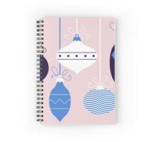 Xmas retro balls hanging on { blue + pink } Spiral Notebook