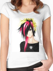EMO- Colorful Chipper Hair Women's Fitted Scoop T-Shirt