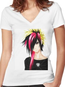EMO- Colorful Chipper Hair Women's Fitted V-Neck T-Shirt