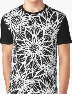Modern Elegant Black White Tangle Flower Drawing Graphic T-Shirt