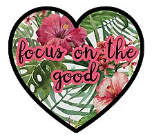 Focus on! Mantra Positive Boho HEART TROPICAL FLOWERS Photographic Print