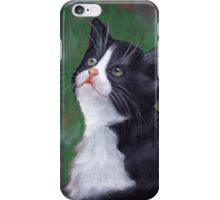 Tuxedo Cat Looking Up: Kitten: Oil Pastel Painting iPhone Case/Skin