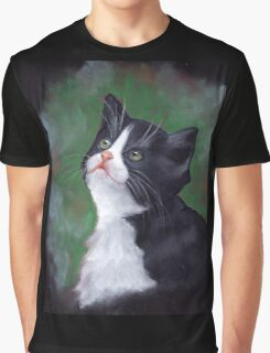 Cat Looking Up: Kitten: Oil Pastel Painting Graphic T-Shirt