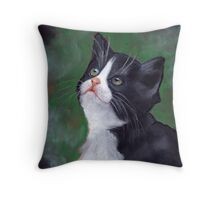 Cat Looking Up: Kitten: Oil Pastel Painting Throw Pillow