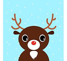 Xmas Deer on snowing background Photographic Print
