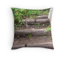 Forest foot path Throw Pillow