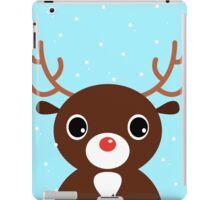 Xmas Deer on snowing background iPad Case/Skin