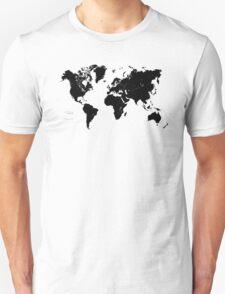 Black & White World Map Unisex T-Shirt