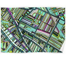 Abstract Map of Davis Square, Somerville Poster