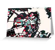 Abstract Map of Boston Harbor Greeting Card