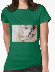 ceramic face, green eye photograph Womens Fitted T-Shirt