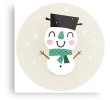 Vintage Snowman on snowing background Metal Print