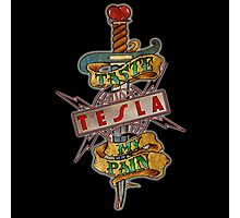 tesla logo band pain Photographic Print