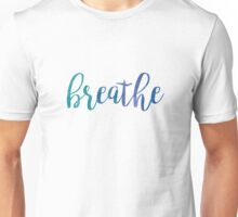 Breathe Watercolor Typography Inspirational Quote Unisex T-Shirt