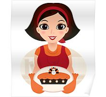 Vintage cooking Woman Vector Poster