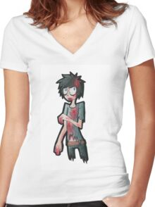 EMO- My Son's Color Drawing Women's Fitted V-Neck T-Shirt