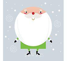 Simple stylized Santa on snowing christmas Photographic Print