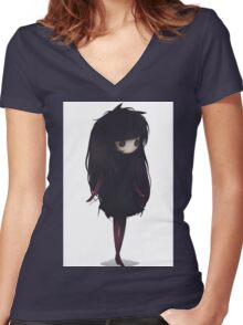 EMO- Korean Fashion Style Women's Fitted V-Neck T-Shirt