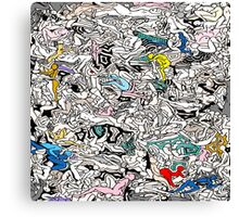 Fun Kamasutra Bodies Figures Doodle in Color Canvas Print