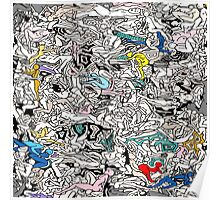 Fun Kamasutra Bodies Figures Doodle in Color Poster