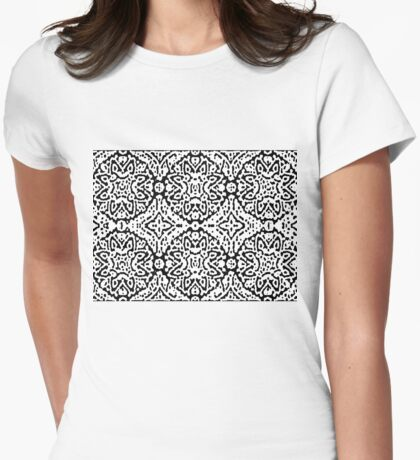 Black and White Puffs Womens Fitted T-Shirt