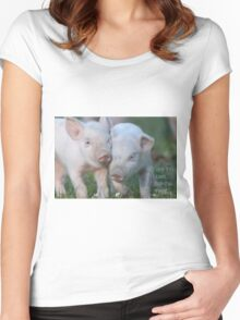 Cute Piglets Poster for Vegans/Vegetarians Women's Fitted Scoop T-Shirt