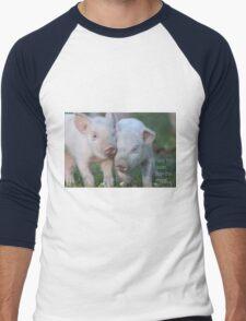 Cute Piglets Poster for Vegans/Vegetarians Men's Baseball ¾ T-Shirt