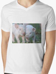 Cute Piglets Poster for Vegans/Vegetarians Mens V-Neck T-Shirt