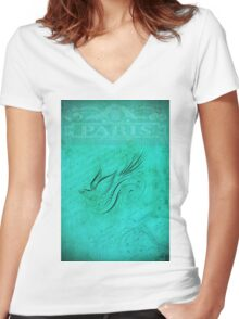 Vintage Bird and French Handwriting Women's Fitted V-Neck T-Shirt
