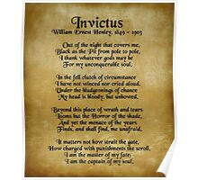 """Invictus"", Victorian poem on parchment Poster"