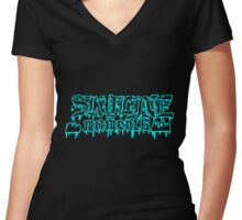 Skyline moments gothic version Women's Fitted V-Neck T-Shirt