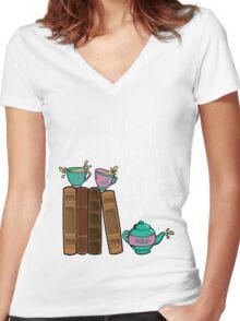 Books & Tea  Women's Fitted V-Neck T-Shirt