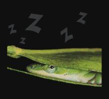 Silly Cute Cool Adorable Fun Sleepy Green Anole Lizard  One Piece - Long Sleeve