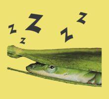 Silly Cute Cool Adorable Fun Sleepy Green Anole Lizard  One Piece - Short Sleeve