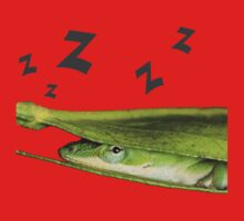 Silly Cute Cool Adorable Fun Sleepy Green Anole Lizard  Baby Tee