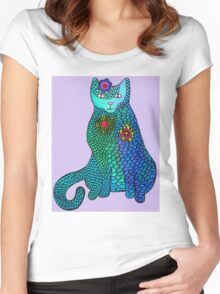 Blue cat with flowers Women's Fitted Scoop T-Shirt