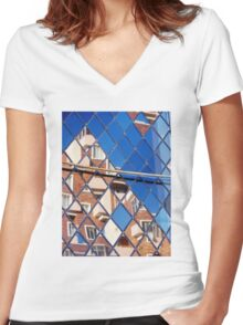Window reflection Women's Fitted V-Neck T-Shirt