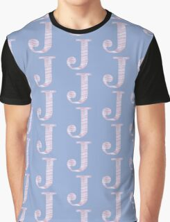Initial J Rose Quartz And Serenity Pink Blue Wavy Lines Graphic T-Shirt