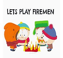 Let Play Firemen Photographic Print