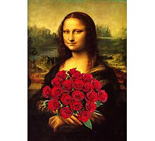 Mona Lisa Loves Red Roses Photographic Print