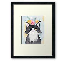 Springtime Tuxedo Cat Framed Print