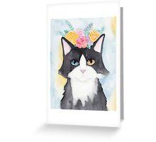 Springtime Tuxedo Cat Greeting Card