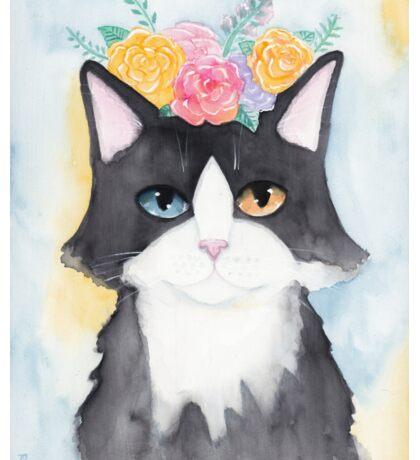 Springtime Tuxedo Cat Sticker