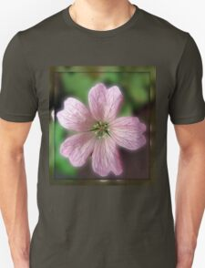 Five Pink Petals - Tiny Flower in Mirrored Frame Unisex T-Shirt