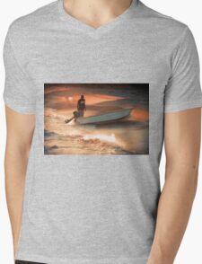 Fisherman on Sunset Coast Mens V-Neck T-Shirt