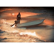 Fisherman on Sunset Coast Photographic Print